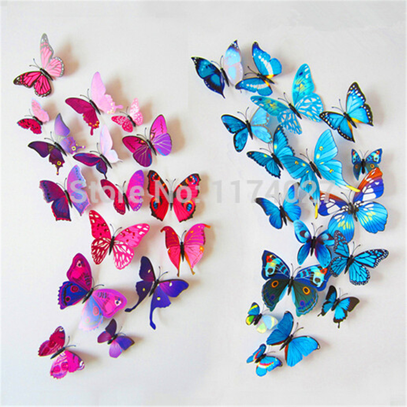 2016 New Style 3D Sticker Wall Stickers Home Decor Butterflies For Home Decoration Butterfly On The Wall Decals Drop Shipping