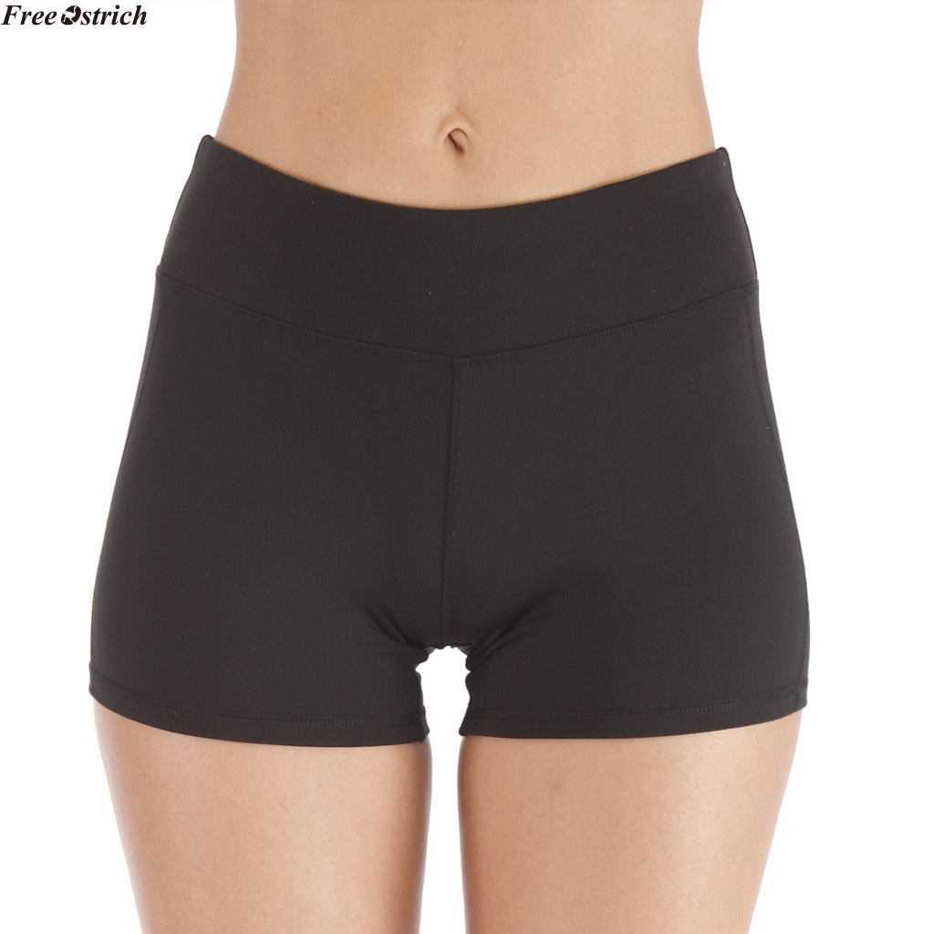 FREE OSTRICH Sexy High Waist Slim Solid Gym   Short   Fitness sport tight   short   women high waist sports runing comfortable   shorts