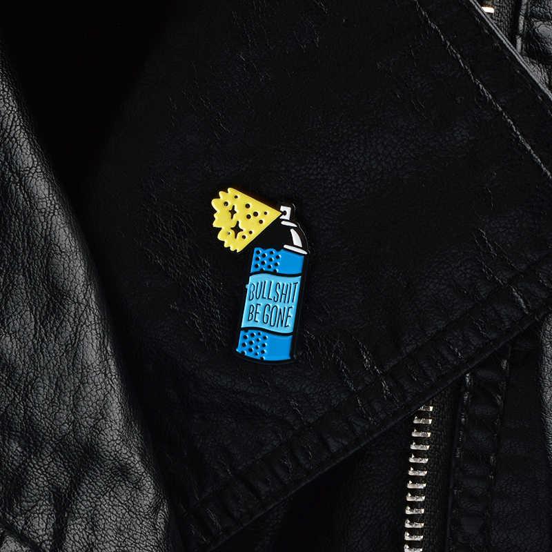 การ์ตูนสีฟ้าขวดสเปรย์เข็มกลัด Bullshit Be Gone Cleaner เรื่องไร้สาระลบสเปรย์เคลือบ Pin Denim Coat Badge ของขวัญเพื่อน
