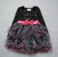 Розничная Супер красиво BEAUTEE марка 6 лет девочка с длинным рукавом лук и бисера украшения платье принцессы