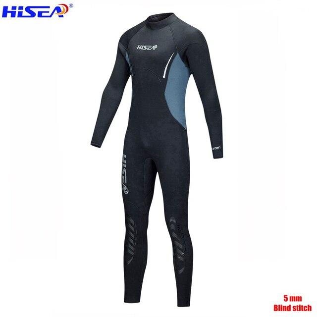 Hisea Men Women Professional 5mm Neoprene Warm Wetsuit Blind Stitch Villus Lining Spearfishing freediving Sealed Diving suit