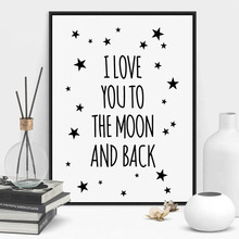 I Love You To The Moon And Back Quote Canvas Art Print Poster Star Kids Room Wall Picture Living Room Painting Poster Home Decor все цены