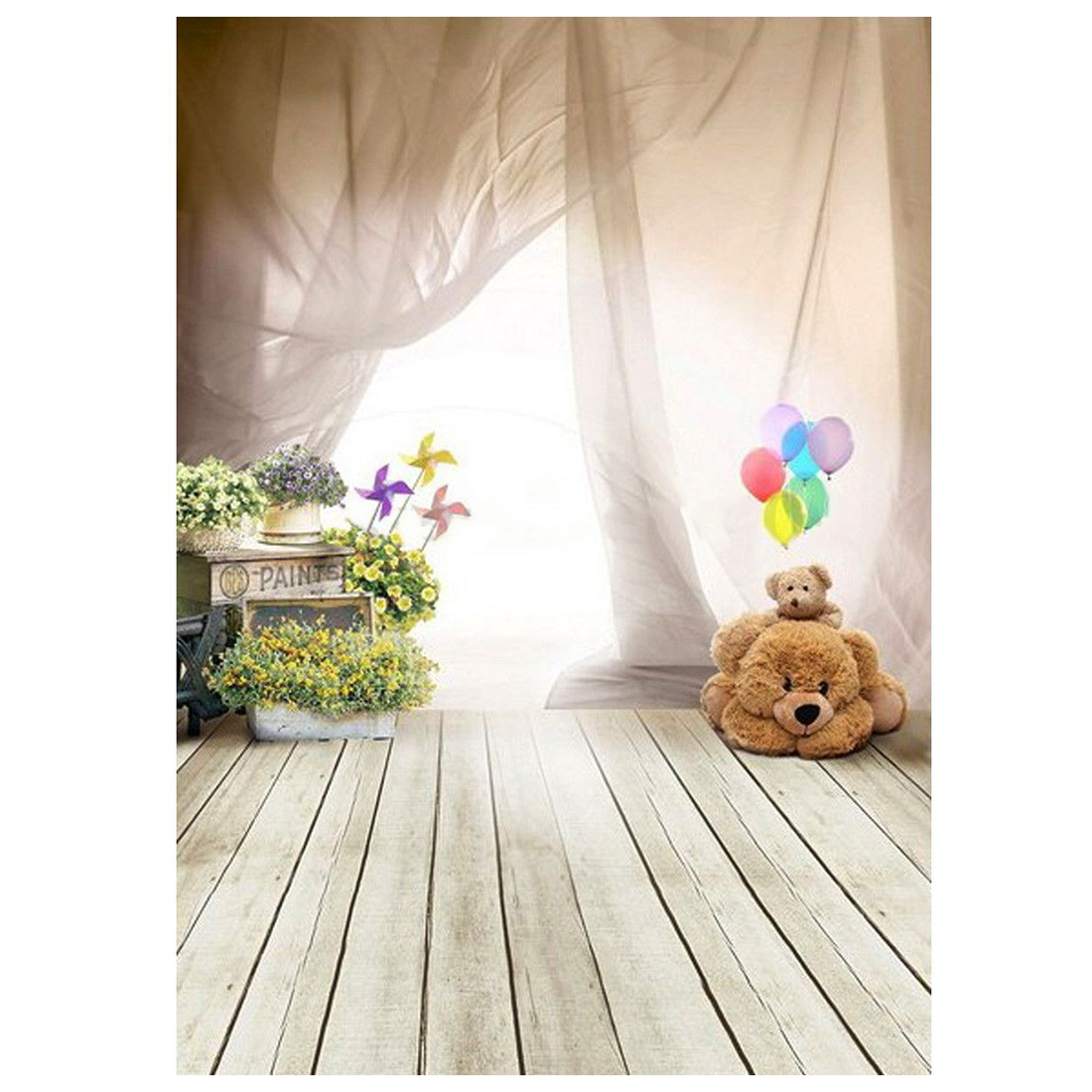 цена на EDT-1m x 1.5m Lovely Bear Floor Balloon Studio Backdrops Children Photography Background
