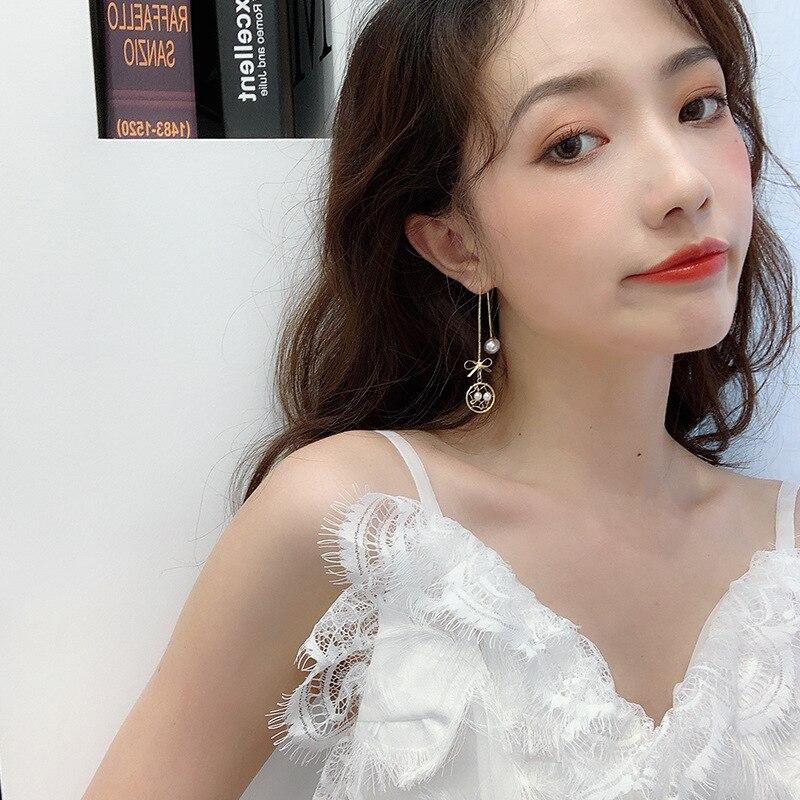 2019 New Arrival Alloy Ethnic Water Drop Women Dangle Earrings Korean Bow Pearl Earrings Design Earrings Long Simple Jewelry