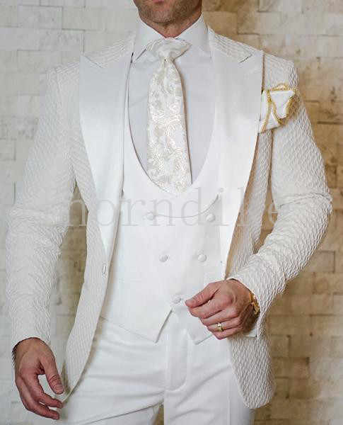 Costume Homme New Design Formal Tuxedo 3 Piece Peaked Lapel Wedding Suits For Men Slim Fit White Jacquard Men Suit Groom Suit
