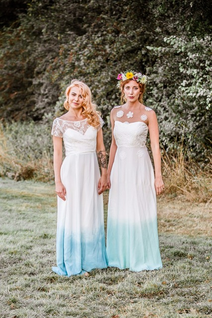 2017 Boho Strand Bunte Blue Print Hochzeit Kleid Spitze Mieder ...