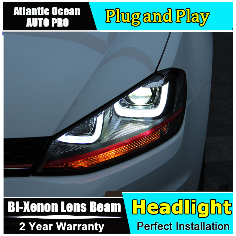 Car Styling for VW Golf 7 LED Headlights for Golf mk7 Halogen Signal DRL Lens Double Beam HID KIT Xenon bi xenon lens led drl free shipping for vland car styling head lamp for vw golf 7 headlights led drl led signal h7 d2h xenon beam
