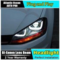 Car Styling for VW Golf 7 LED Headlights for Golf mk7 Halogen Signal DRL Lens Double Beam HID KIT Xenon bi xenon lens led drl