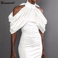 Bevenccel 2019 New Sexy Off Shoulder Summer Dress Women High Neck Draped Bodycon Runway Celebrity Evening Party Dress Vestidos