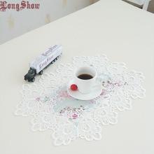 Placemat-Pads Embroidered Jacquard-Cover Table-Decoration Lace-Trim Vintage 4pcs
