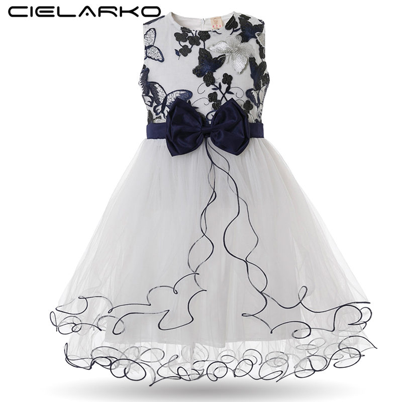 Cielarko Pageant Girls Dress Princess Birthday Party Ball Gown Evening Butterfly Embroidery Kids Dresses Floral Tulle Baby Frock cielarko girls dress flower print pageant ball gown cotton kids wedding party dresses summer baby vintage frock for 2 8 years