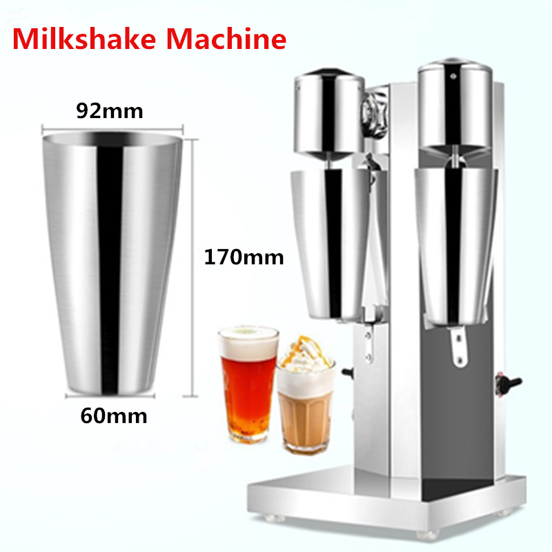 Double Head Milkshake Machine Stainless Steel Milk Shake Machine Drink mixer Make Milk Foam Milkshake Bubble Tea Machine jiqi milk shake stirring machine electric milkshaker drink mixer blender milk foam stainless steel bubble tea smoothie maker eu