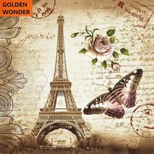 European France Paris Eiffel Tower Printed Polyester Waterproof Shower Curtain Copper Buttonhole Bathroom Products Home Decor