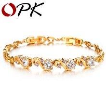Opk joyería de lujo pulseras de boda del color del oro con incrustaciones de cristal de circón aaa para las mujeres brillante elegante joyería, 409-30