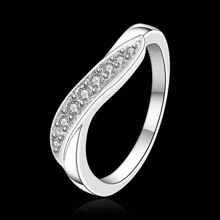จัดส่งฟรี 925 เครื่องประดับ silver plated เครื่องประดับแหวนแฟชั่น Silver Plated Zircon ผู้หญิง & ผู้ชายนิ้วมือ SMTR159