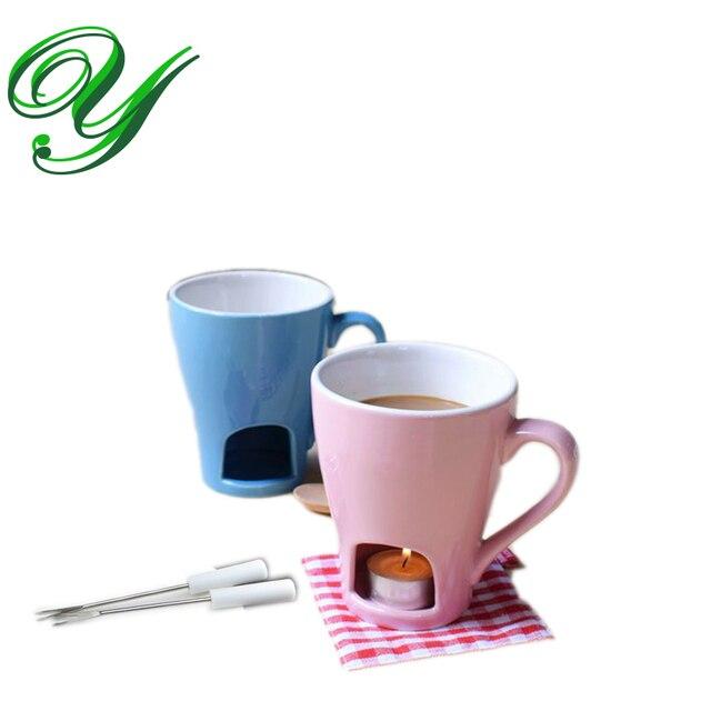 Ceramic Chocolate Fondue Mug Set Tealight Holder Porcelain Sauce Melting Pot Dipper Buffet Warmer Cheese Fountain