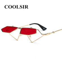 COOLSIR Red Cat Eye Sunglasses Women Retro Men Two Lens Small Sun Glasses Metal Frame Ladies Sexy Clear