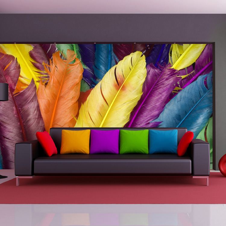 colorful feather wall mural 3d photo wallpaper custom fashion wallpaper designer kid room decor bedroom clothing. beautiful ideas. Home Design Ideas