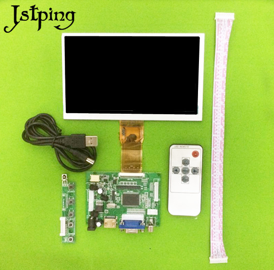 Tablet Accessories Expressive Jstping 7 Inch Hd High Resolution 1024*600 Car Lcd Screen Monitor Driver Board Hdmi Vga 2av For Raspberry Pi 3 Windows Android Jade White Computer & Office
