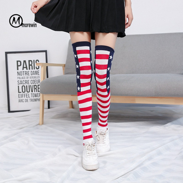 dadac0289 Fashion Autumn 1Pair Women Lady Girls Over The Knee Socks Striped Star  Patterned Thigh High Cute Cotton Long Stockings Morewin