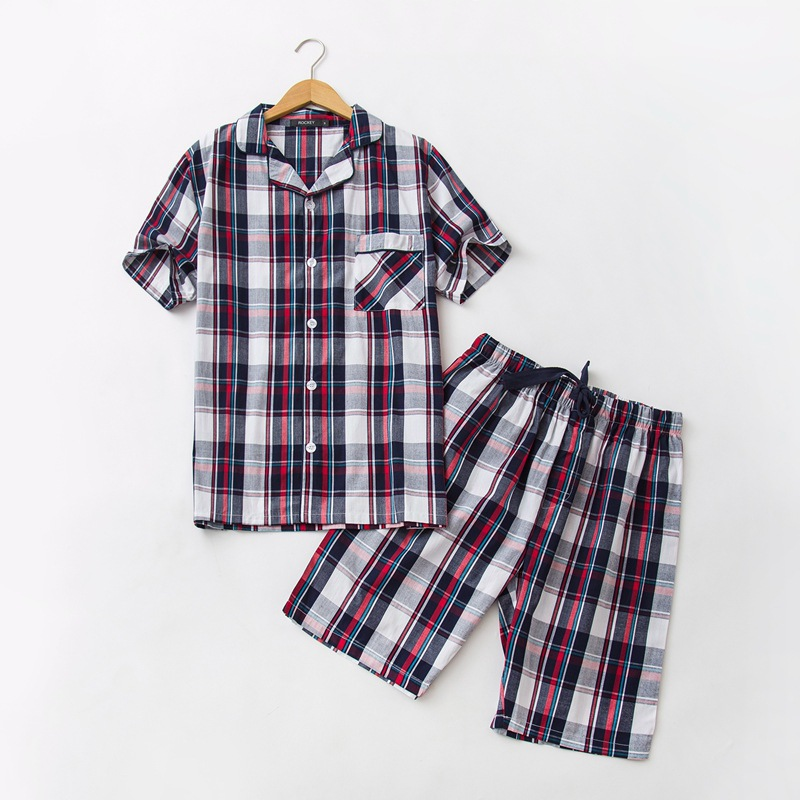 Smart 2019 Summer Brand Homewear Men Casual Plaid Pajama Sets Men Turn-down Collar Shirt & Half Pants Male Soft Cotton Sleepwear Suit Regular Tea Drinking Improves Your Health Men's Pajama Sets