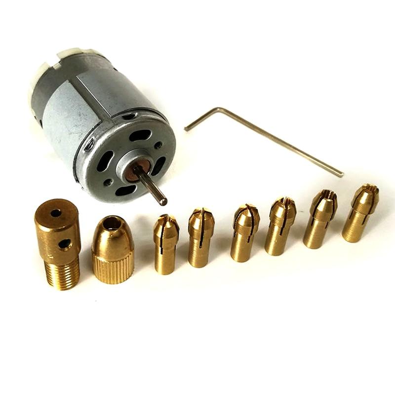 Mini DC 12V Electric Hand Drill Motor PCB Press Drilling Bits  Set 0.5-3mm Twist Bits 3.17mm Shaft Width  Power Tools
