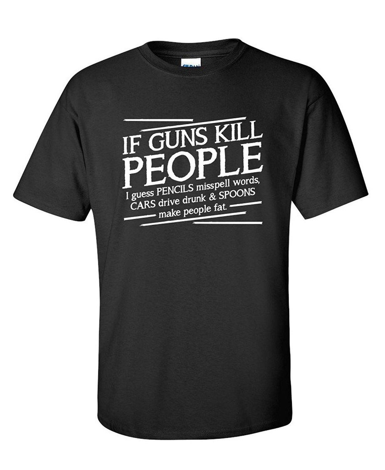 New Funny Brand Clothing  MenS Work Broadcloth Guns Kill People Pencils Miss Spell Words T Shirts