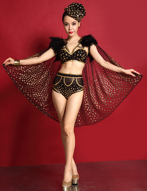2015 Women new sexy fashion lace black sequins rhinestone clothing set  female singer ds costume dj 55bdbc0c6df2