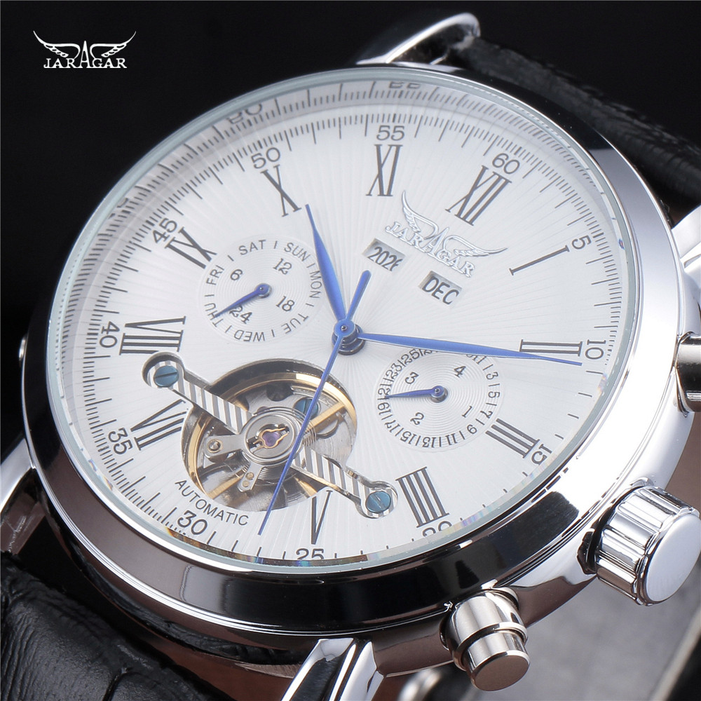 ФОТО JARAGAR Full Calendar Tourbillon Auto Mechanical Mens Watches Top Brand Luxury Wrist Watch erkek kol saati Montre Homme
