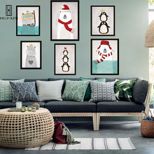 Lovely Wall Decoration Polar Bear Penguines Dressed in Red in Winter Oil Canvas Print Sweet Gift For Kid's Birthday Room Decor трусы people dressed in style 2014
