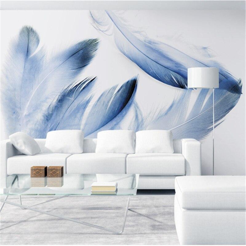 Behang Slaapkamer Modern.Custom Blue 3d Behang Veer Modern Minimalisme Behang Voor