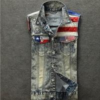 2017 New Arrival Men's Denim Vest Jeans Vest Men Cowboy Vest Denim Sleeveless American Flag Patchwork Jacket For Men
