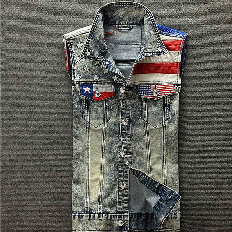 2017 Nouvelle Arrivée Hommes de Denim Gilet Jeans Gilet Hommes Cowboy Gilet Denim Sans Manches Drapeau Américain Patchwork Veste Pour Hommes