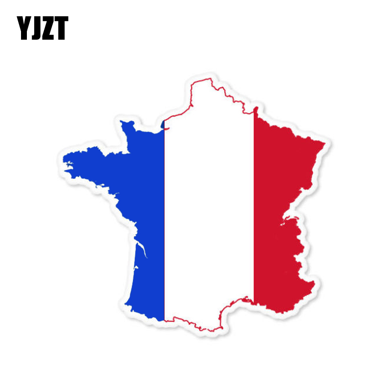 YJZT 11.1CM*10.7CM France Map Flag Car Sticker Accessories Window Decal 6-0809