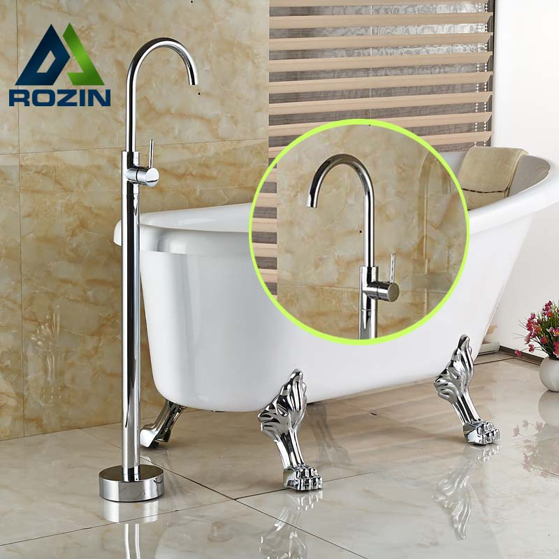 Modern Bathroom Floor Mount Clawfoot Bathtub Filler Faucet Free Standing Tub Mixer Taps In