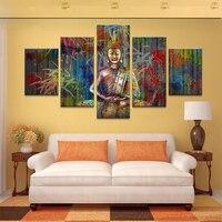 送料無料5ピース壁のキャンバスアートhd版画仏家の装飾壁アート絵画絵モジュラー抽象額