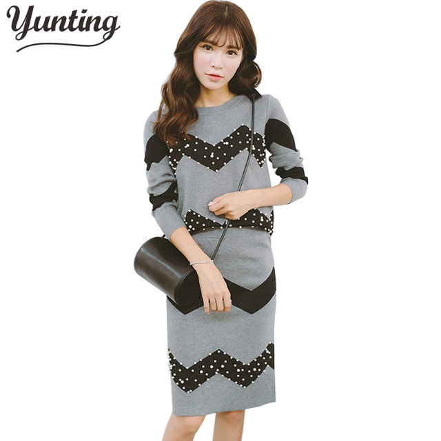 0cdf30a8cb3 Women Knitted Knee-Length Skirts Clothing Sets Pearls Young Lady Fashion  Tops+Skirt Suits