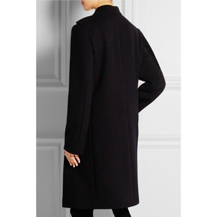 2019 Outono e inverno nova Europa e nos Estados Unidos lapela double breasted pure color tubo reto cabelo longo casaco c335 - 5