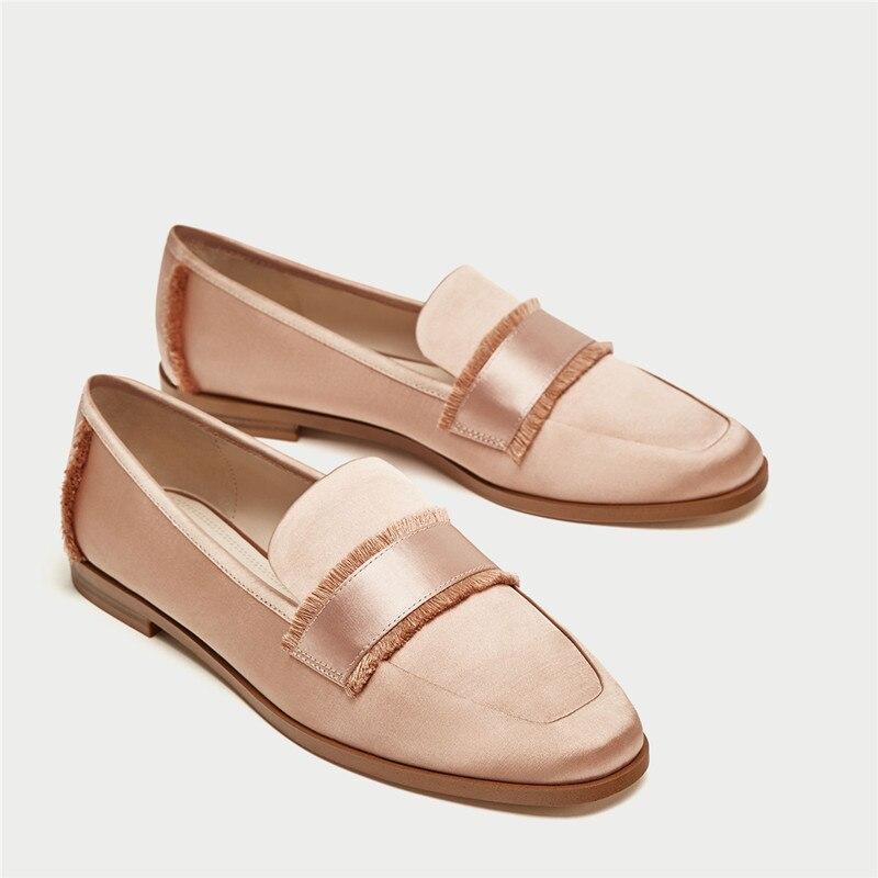 Seda Bajos Verano Mujer Prova Square Primavera Plana Alta Calidad Mujeres Toe Zapatos Perfetto on Borlas Tacones De Black Mocasines Slip q4Yx64