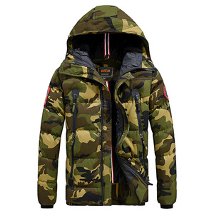 Image 5 - Casual Camouflage Mens Winter Jacket Thick Warm Male Coat Camo Hooded Cotton Windproof Parka Military Mens Overcoat