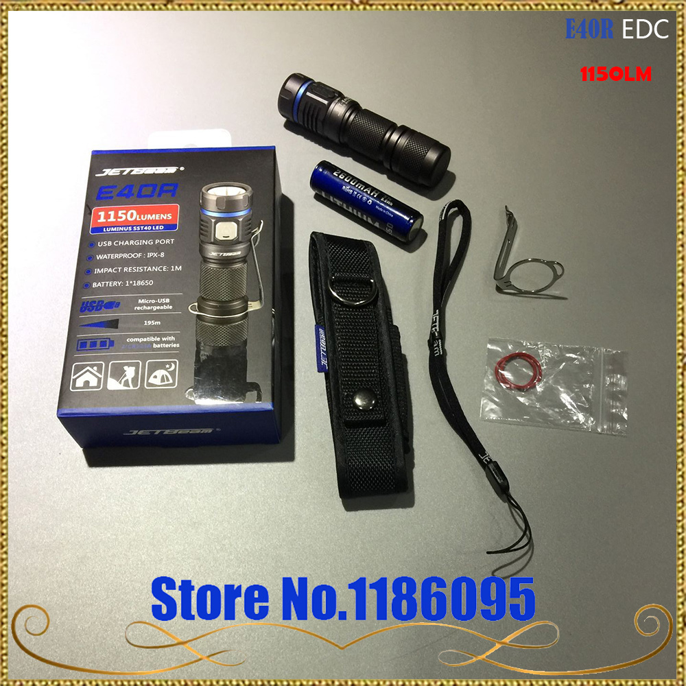 2017 Newest Original JETBeam E40R SST40 LED 1150 Lumens LED Flashlight with 18650 Li-ion 2600mah Battery for Self Defens sst 50 w45s f21 j3401 optoelectronics mr li