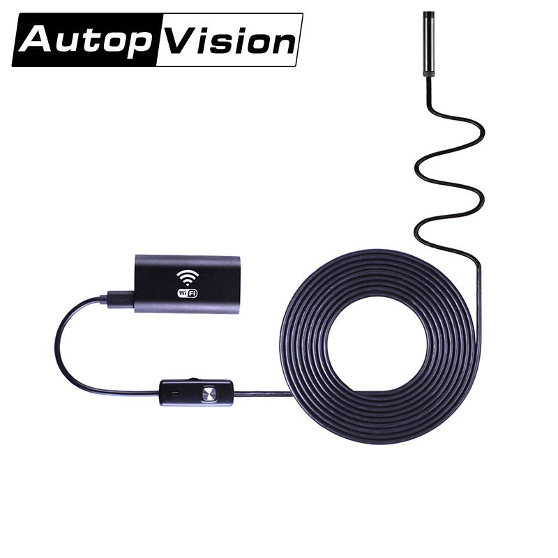 WIFI-2/5/10M Waterproof Endoscope Mini HD Camera Snake Tube 8mm Lens Rigid Cable USB Inspection LED Borescope for phone 8mm 2in1 micro usb endoscope camera 2m lens android phone endoscope mini camera inspection borescope tube snake mini camera