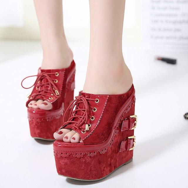 61498f83087154 summer shoes Wedges slippers High Heels high platform sandals open toe  Pumps 2017 Wedges Shoes flip flops women sandals red X261