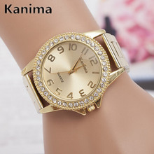 KANIMA Lovers Quartz Watches Women Men Gold WristWatches Top Brand Luxury Female Male Clock Golden Steel Watch Montre Femme 2017