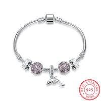 Ann Snow Original Dolphin Charm Bracelets 100 925 Sterling Silver Unique DIY Flower Bracelets For Women