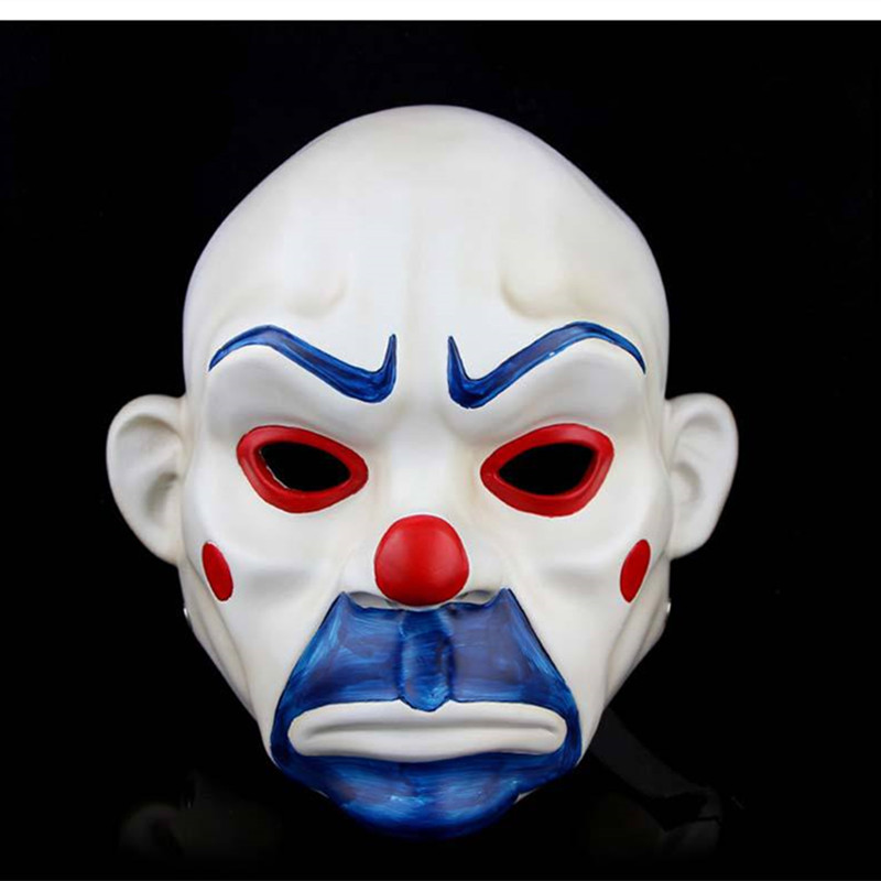 Adult Batman Joker Clown Bank Robber Mask Dark Knight Costume Halloween Masquerade Party Fancy Resin Mask Free Shipping