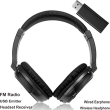 Wireless Headphones Stereo Super Bass Rf Receiver With USB Emitter TV