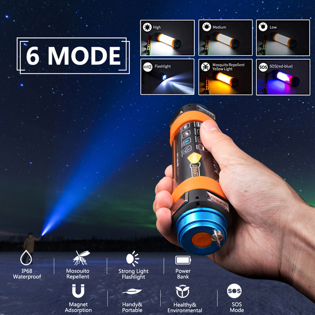 USB LED Camping Lantern 7800mAH  IP68 Waterproof/ Rechargeable/Hiking