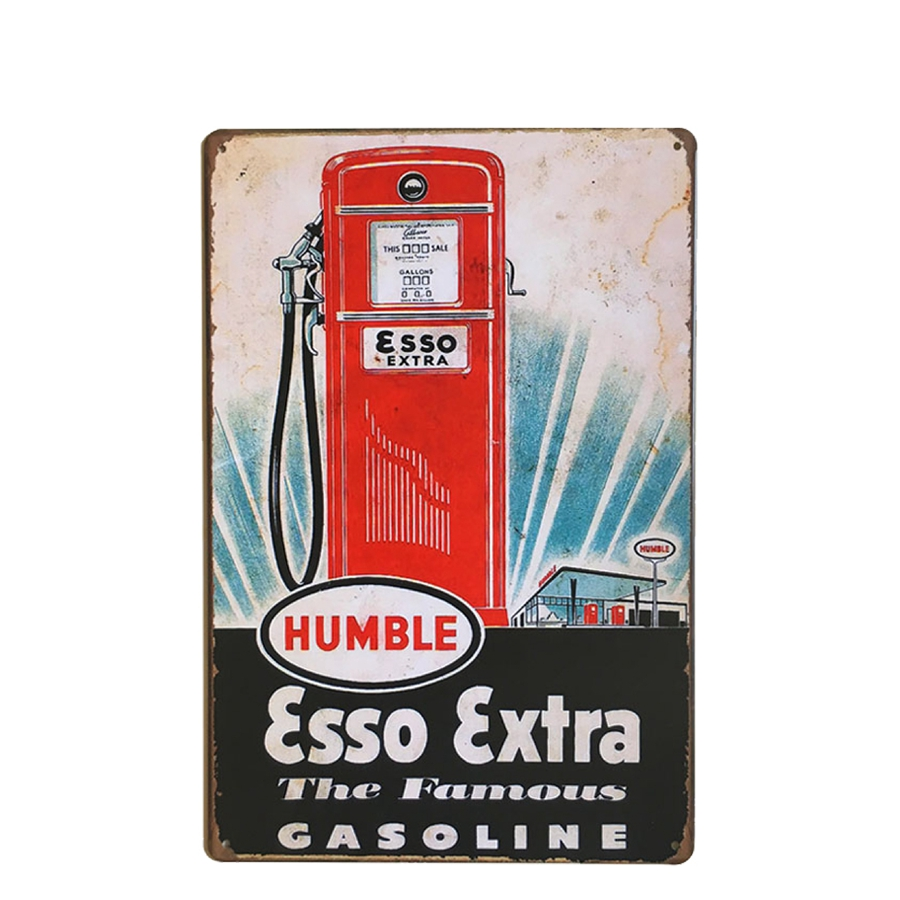esso extra gasoline tin metal sign bar wall decor metal plaque vintage home decor metal sign. Black Bedroom Furniture Sets. Home Design Ideas
