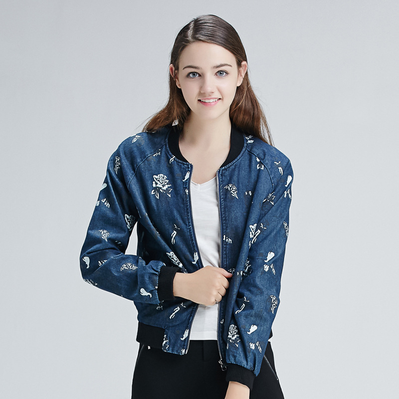 Bootyjeans High End European Style Women's Clothing Cowboy Baseball Uniform Flower Print Blue Short Design O-neck   Basic     Jackets